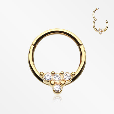 Golden Eres Sparkles Seamless Clicker Hoop Ring-Clear