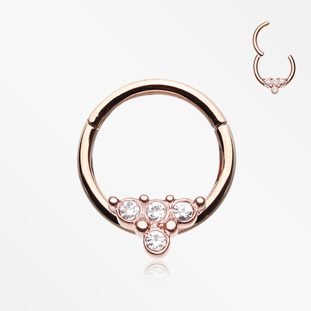 Rose Gold Eres Sparkles Seamless Clicker Hoop Ring-Clear