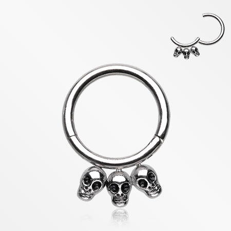 Triple Skulls Seamless Clicker Hoop Ring
