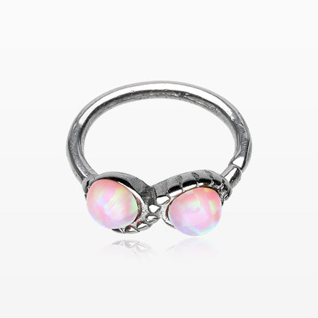 Fire Opal Infinity Bendable Twist Loop Ring-Pink
