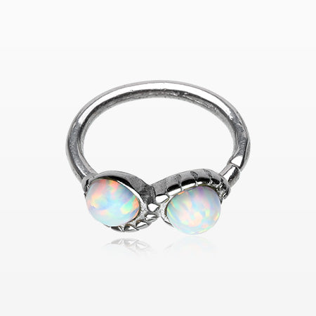 Fire Opal Infinity Bendable Twist Loop Ring-White