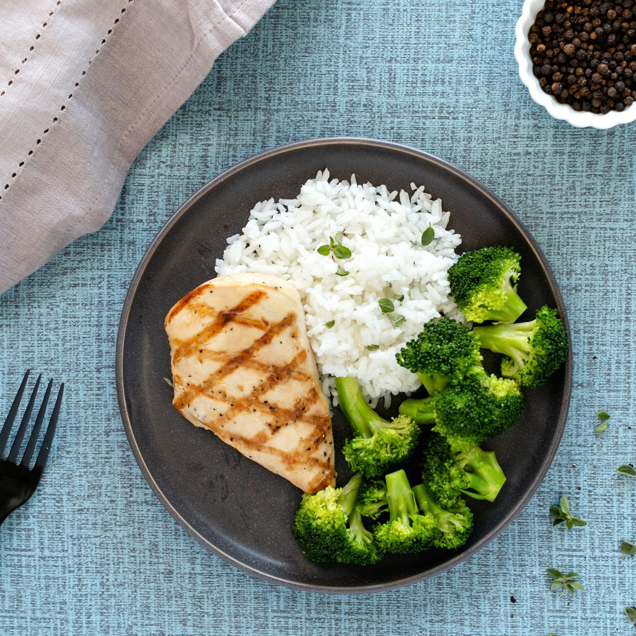 Chicken, White Rice, Broccoli