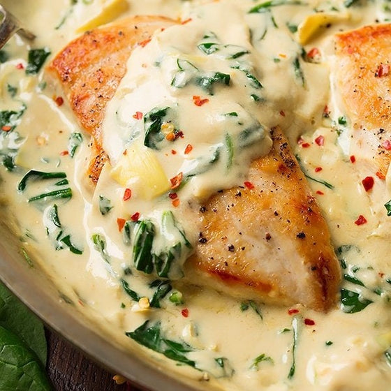 Low Carb Spinach and Artichoke Chicken