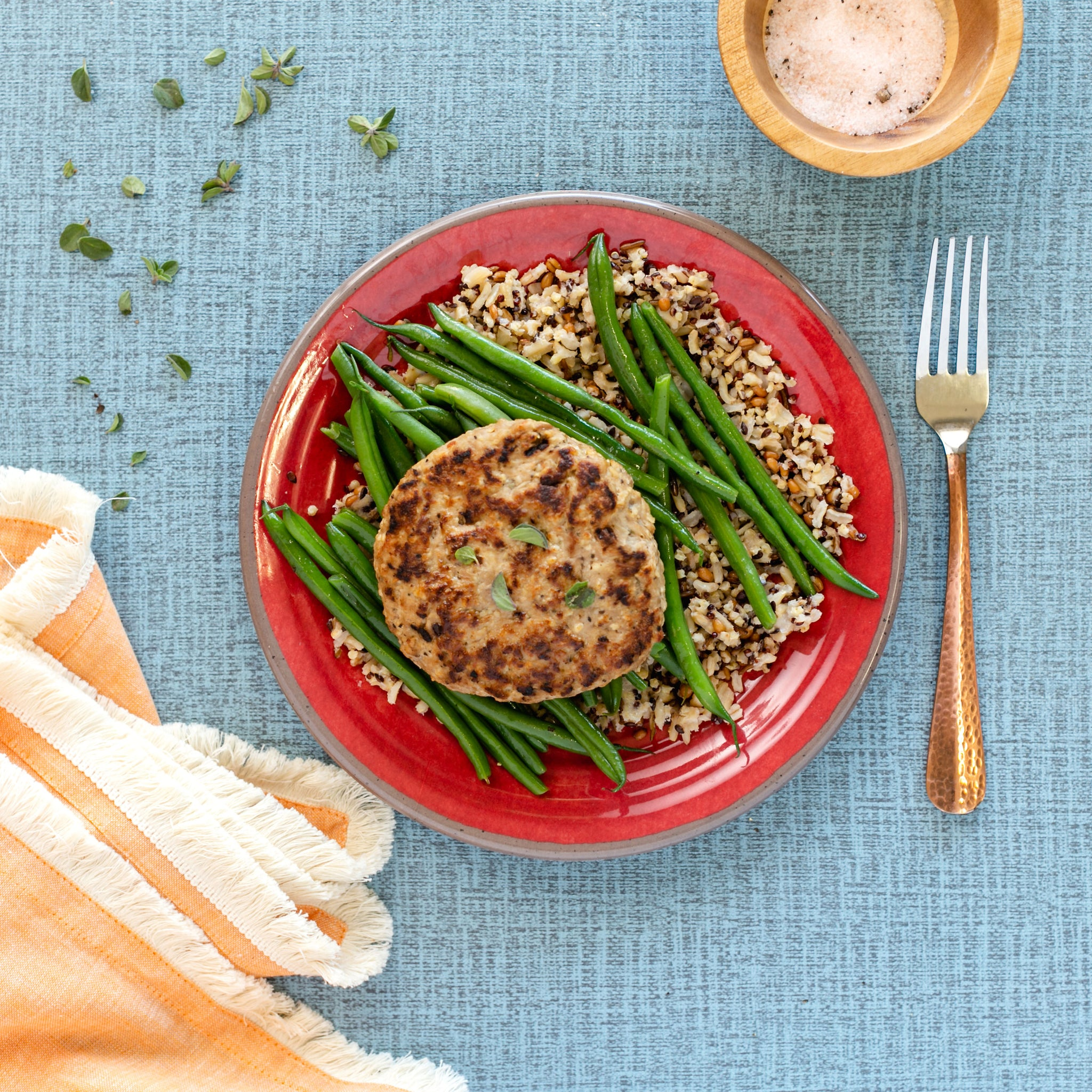 Turkey Burger, Wild Rice, Green Beans