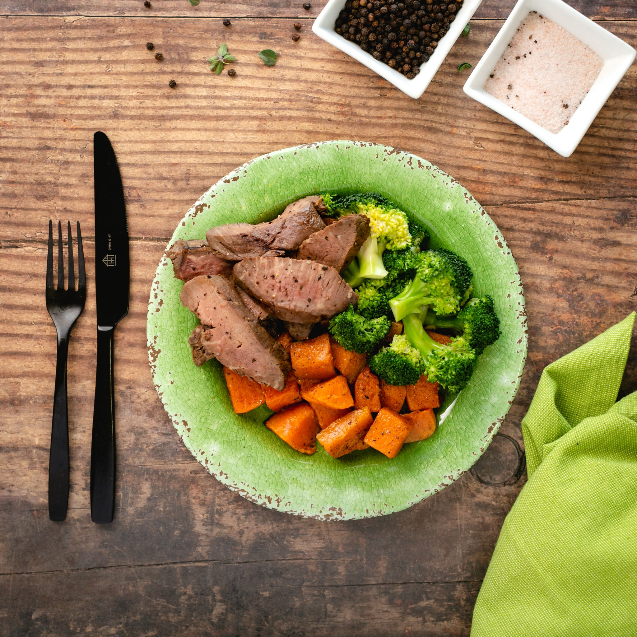 Steak, Sweet Potato, Broccoli