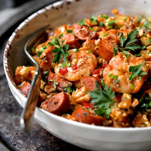 Chicken, Shrimp, Sausage Paella - Low Carb