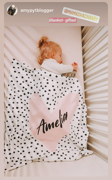Confetti Heart Personalised Fleece Baby Blanket