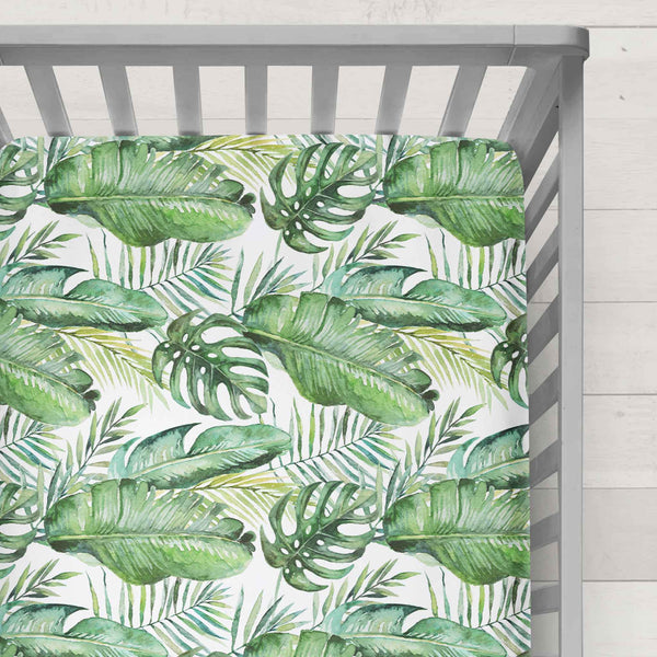 Muslin Fitted Cot Sheet Banana Leaf