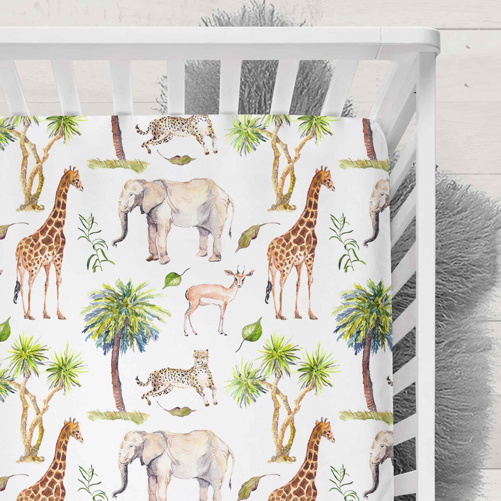 Muslin Fitted Cot Sheet Wild Safari