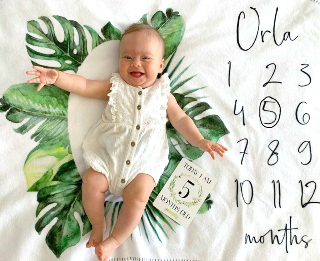 Milestone Fleece Baby Blanket Banana Leaf