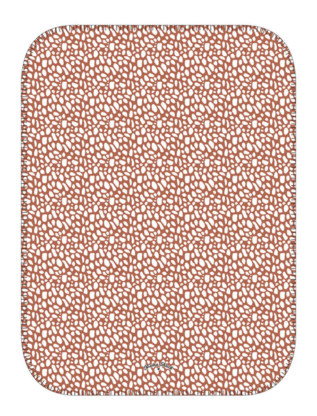 Fleece Baby Blanket Terracotta Print