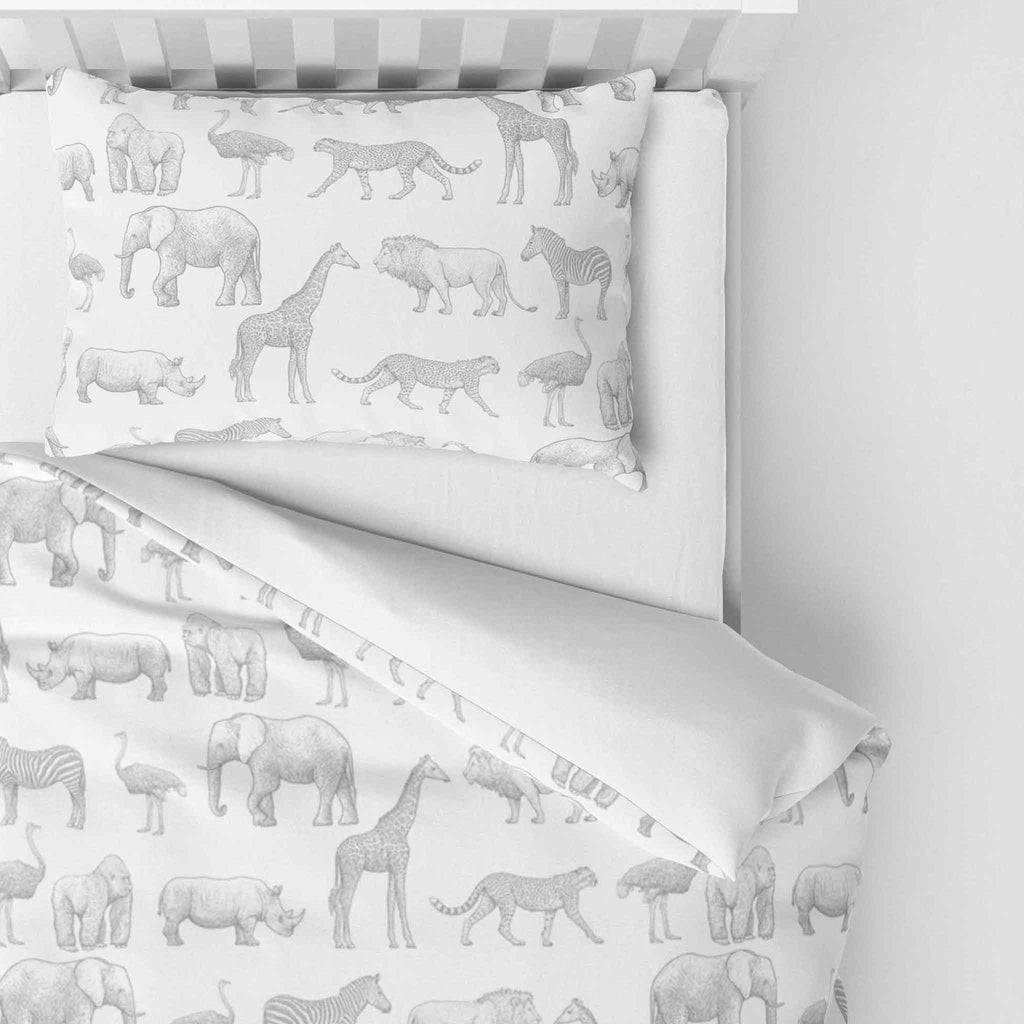 Mono Safari - Duvet Cover and Pillowcase Set - Cot Bed