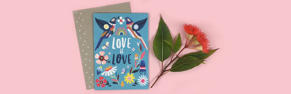Earth Greetings Greeting Card, Love is Love, Love Wattlebirds by Andrea Smith