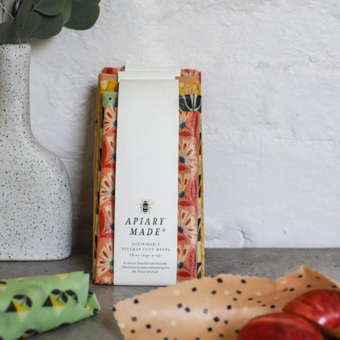 Apiary Made - Set of 3 Beeswax Wraps - Large