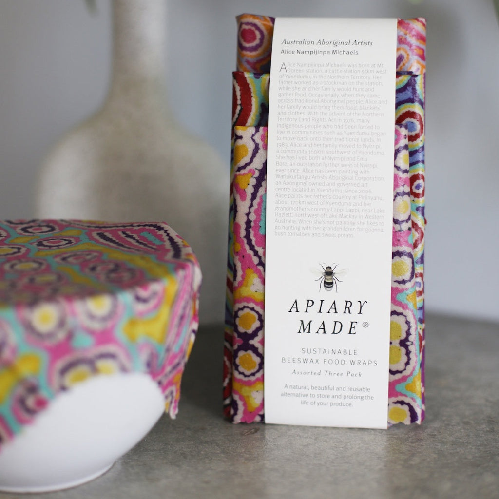 Apiary Made - Artist Collaboration - Set of 3 Beeswax Wraps - Assorted Sizes