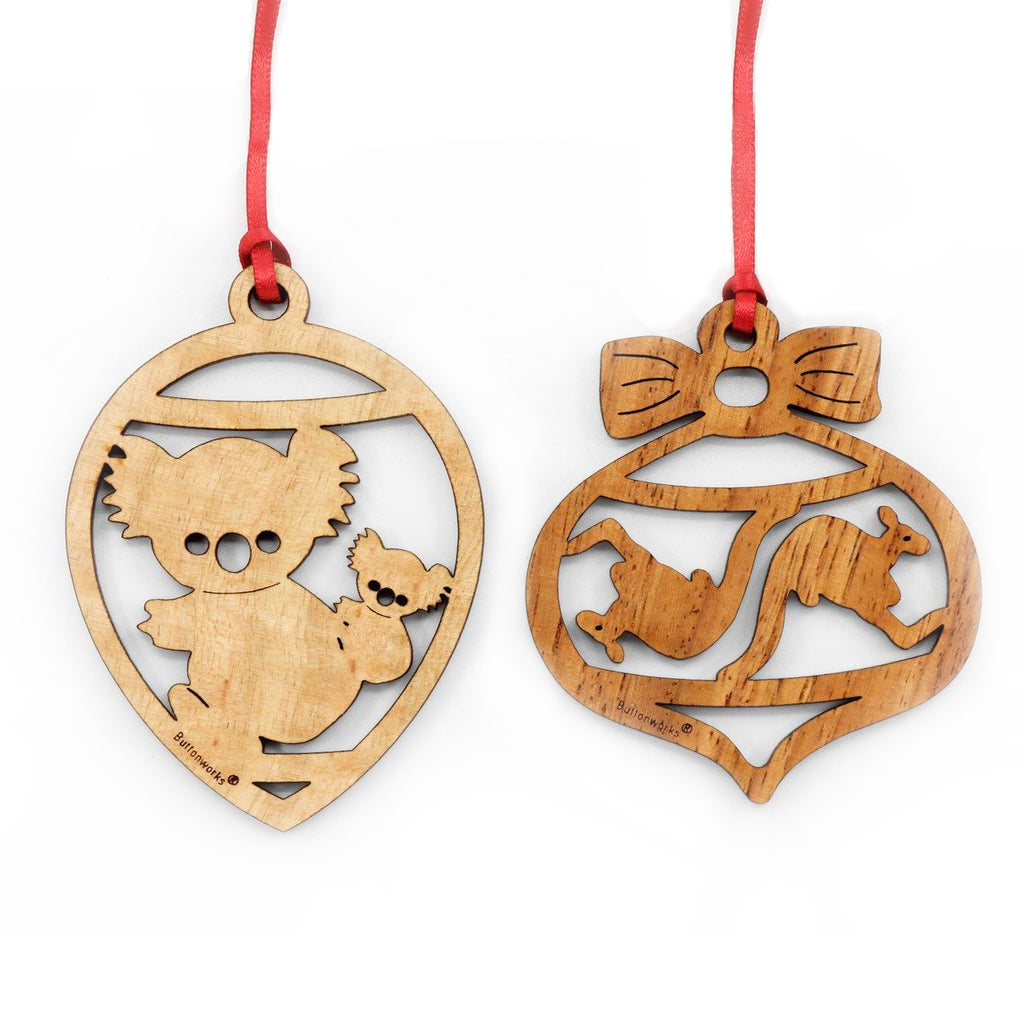 Buttonworks - Set of 2 Ornaments - Kangaroo & Koala