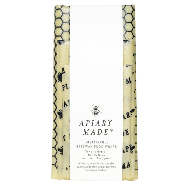 Apiary Made - Set of 3 Beeswax Wraps - Handprinted