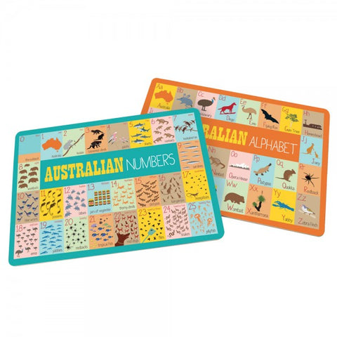 Mokoh - Australian Alphabet and Number Placemats - Set of 2
