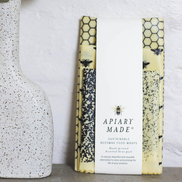 Apiary Made - Set of 3 Handprinted Beeswax Wraps - Assorted Sizes