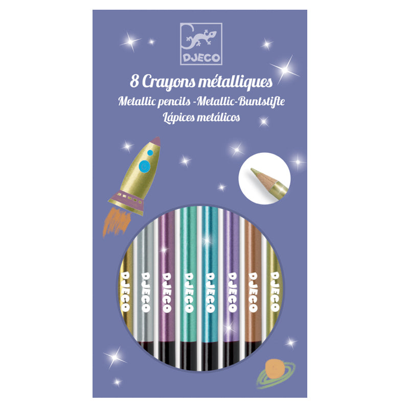 Djeco - Metallic Pencils - Pack of 8