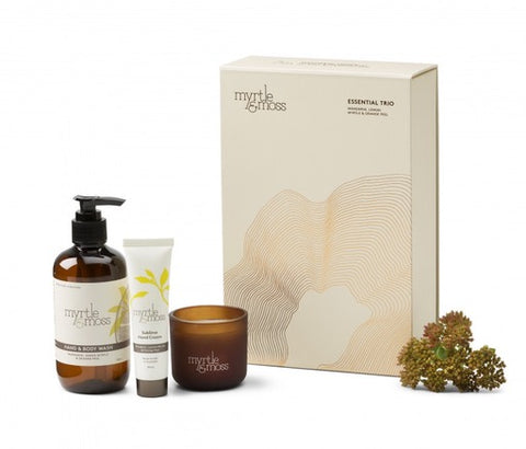 Myrtle & Moss - Essential Trio - Body Wash with Mini Candle & Mini Hand Cream