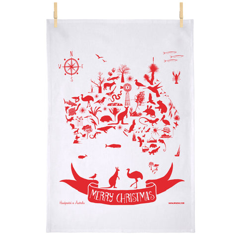 Mokoh - Tea Towel - Australian Map Christmas