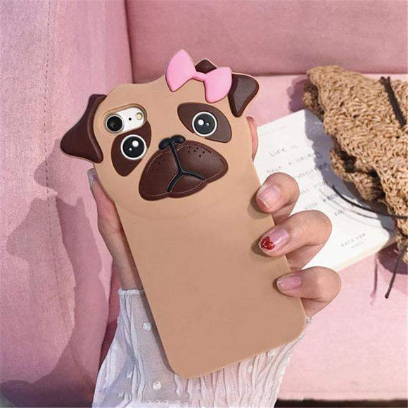 Pink Bow Pug Phone Case // kastle.brixx