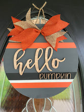 Hello Pumpkin Door Hanger - 3D Sign - Fall door hanger or Wall Sign - Farmhouse Style