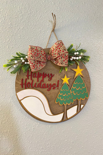 Christmas Front Door Decor - Door Hanger - Happy Holidays - Wall Decorations
