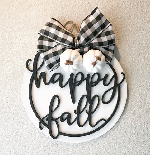 Buffalo Plaid 'Happy Fall' Door Hanger