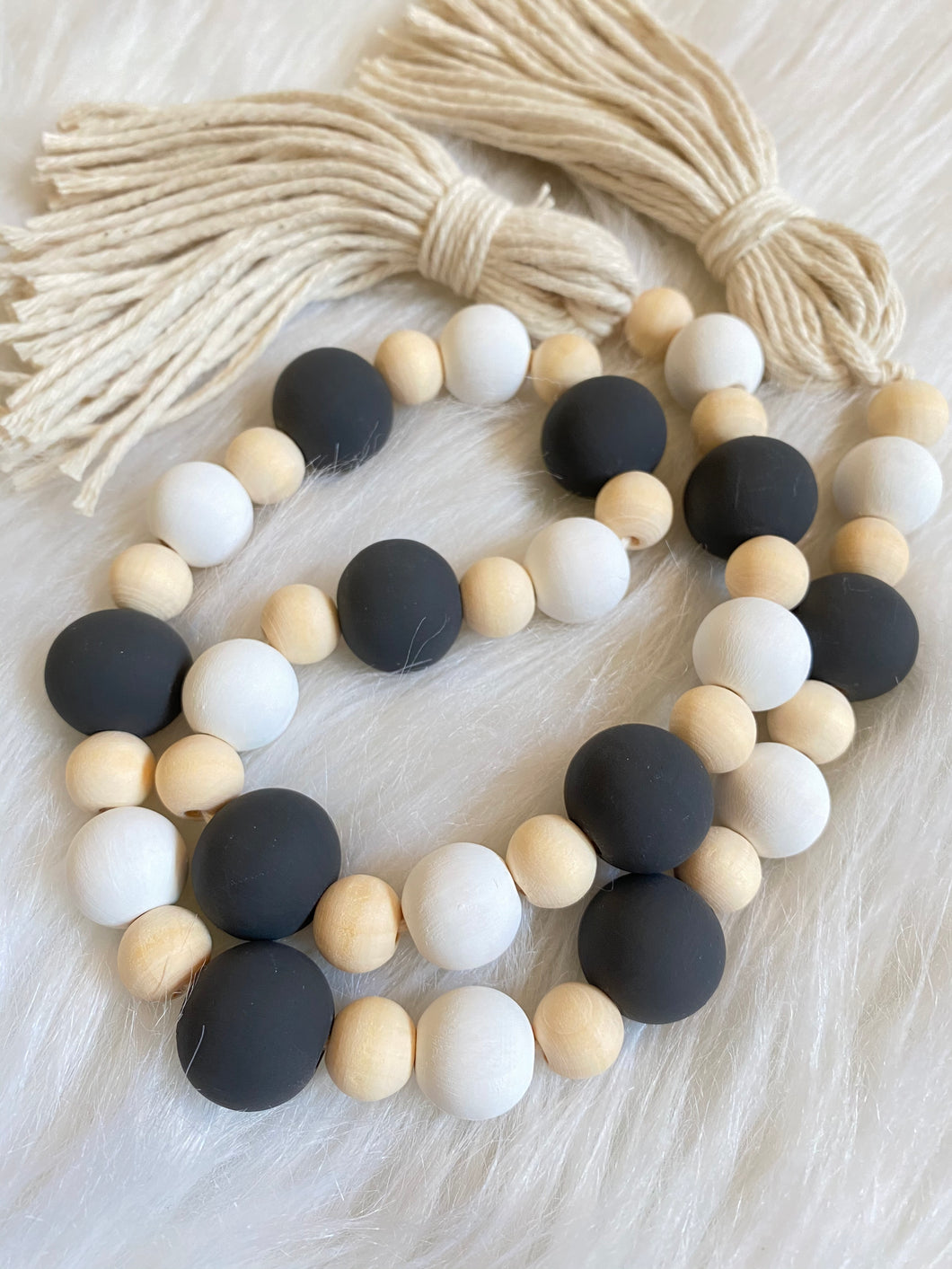 Farmhouse Wood Bead Garland - Tassels - Black and White Painted Wood Beads - Stocking Stuffer
