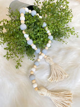 Farmhouse Wood Bead Garland - Tassels - Grey and White Painted Wood Beads - Stocking Stuffer