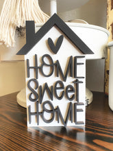 Home Sweet Home - 3D Tiered Tray Sign - Black and White Farmhouse wooden Sign