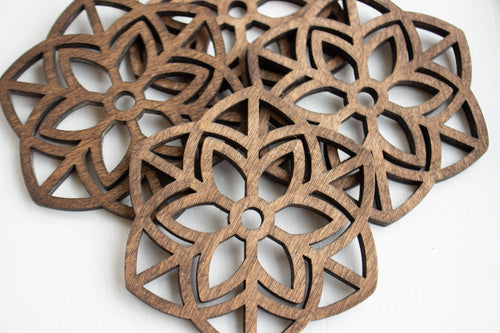 Drink Coasters- Wood Mandala - Set of 4