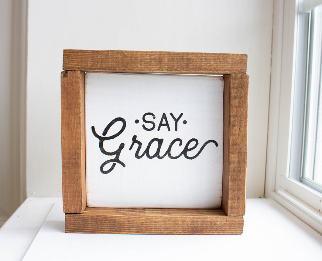 'Say Grace' Kitchen / Dining Room Sign
