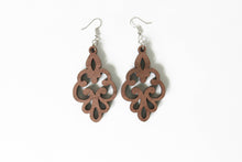 Walnut Wood Dangle Earrings (style 4) - Sterling Silver (925) hooks - Light Weight - Gift for her - Bridesmaid - Mother's Day