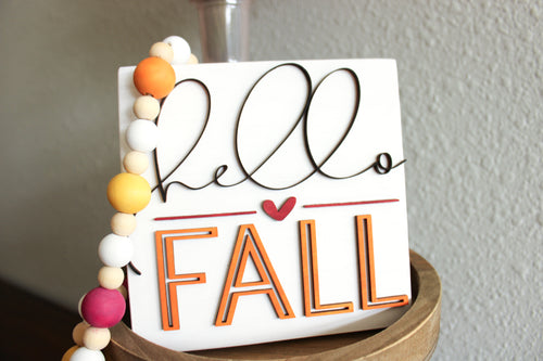 'Hello Fall' Sign - 3D raised lettering - Fall Decor