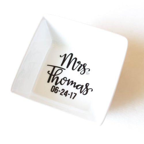 Mrs Ring Dish - With option to personalize with a Last name and or a Date