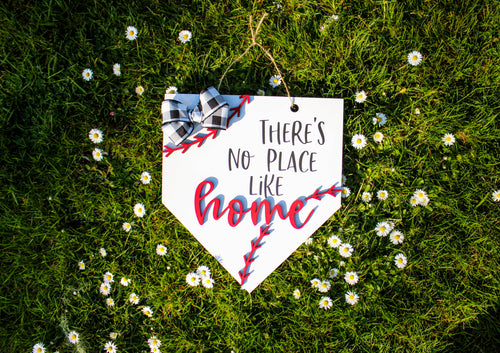 There's No Place Like Home - Baseball Themed Door Hanger - Home Plate - 3D raised design - Buffalo Plaid Bow - Farmhouse Decor