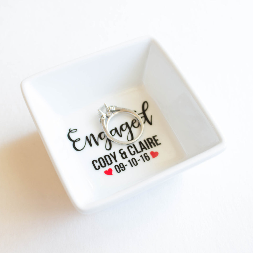 Engagement Gift - Ring Dish - Personalized with Engagement date & Names