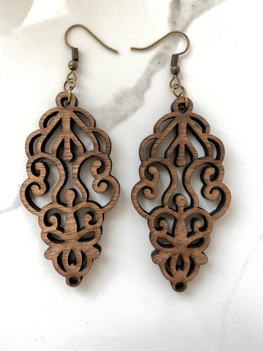 Intricate Walnut Wood Dangle Earrings - Gift for her - Stocking Stuffer