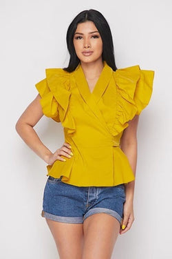 Ruffle Sleeve Wrap Top