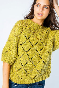 Diamond Knit Crochet Sweater