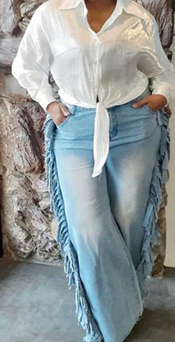 Side Fringe Denim Pants