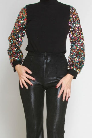 Sequin Sleeve Stretch Top