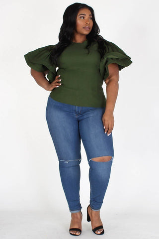 Flutter Sleeve Fitted Top (Plus)