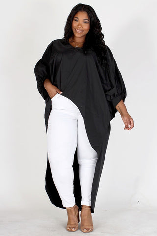 Dolman Sleeve High Low Tunic Top (Plus)