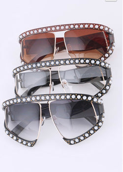 Pearl Accent Oversize Iconic Sunglasses
