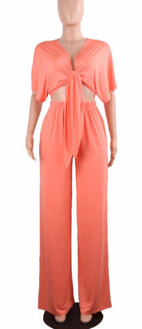 Open Knot Front Pants Set