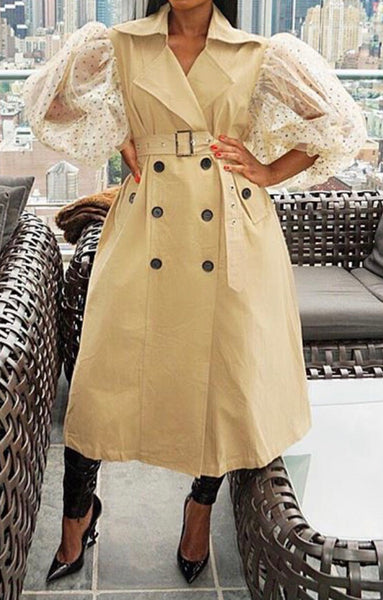 Mesh Puff Sleeve Trench Coat
